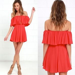 Lulu's • Coral Red Off-the-Shoulder Dress